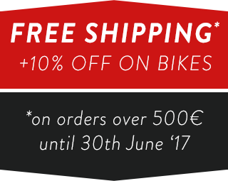 Free Shipping Wordlwide + 10% OFF on all Bikes until 30th June 2017