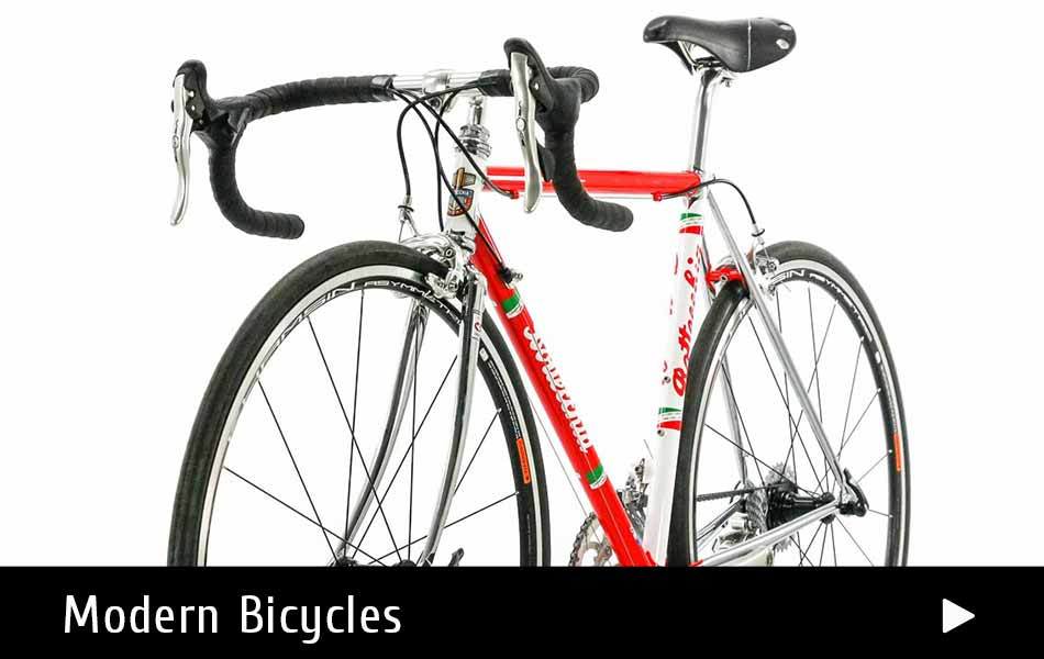 A selection of moder steel racing bicycles