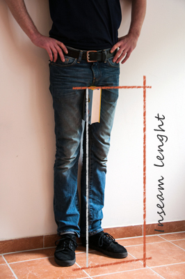 The inseam is a mercifully straightforward measurement to get -- all you need is a minute's time and a flexible measuring tape. Step 1 Remove your shoes and socks and don a pair of well-fitting pants or simply undertake the task in your underwear.